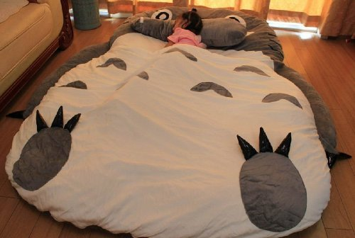 Huge Cute Cartoon Totoro Double bed Totoro sleeping bag Totoro bed small face...