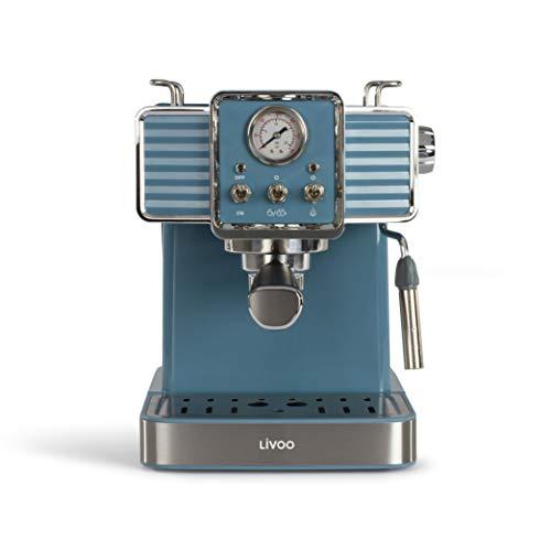 Livoo DOD174 – Cafetera de café espresso (15 bares, calentador Thermoblock | Boquilla de vapor para capuchino, leche…