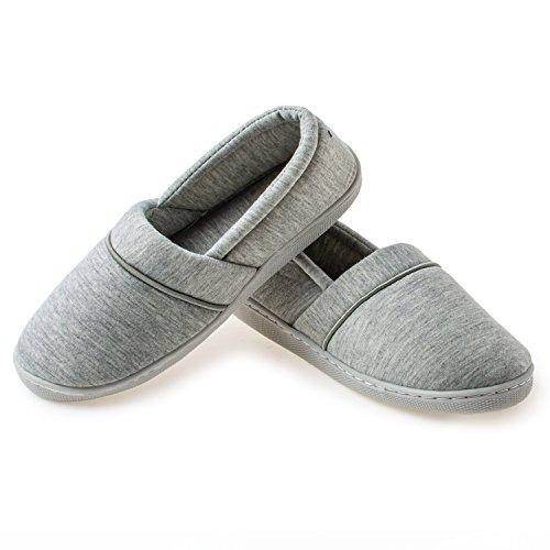 YQXCC Women's Comfort Cotton Anti-Skid Sole Indoor House Slippers (8 B(M) US, Gray)