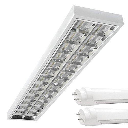 LED Rasterleuchten mit 2X T8 LED 120cm 18W kaltweiß 6500K G13 Bürolampe