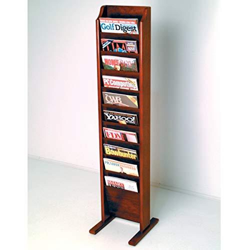 Wooden Mallet MR10-FSBK Cascade Free Standing 10 Pocket Magazine Rack - Black & Mahogany
