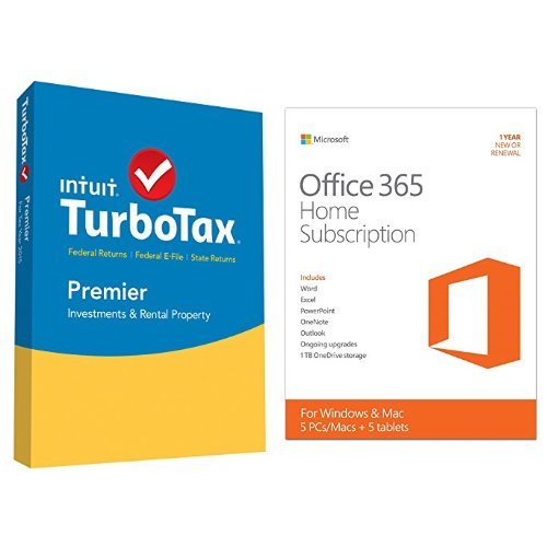 TurboTax Premier 2015 Federal + State Taxes + Fed Efile Tax Preparation Software - PC/Mac Disc with Microsoft Office 365 Home 1 Year | 5 PC or 5 Mac Key Card