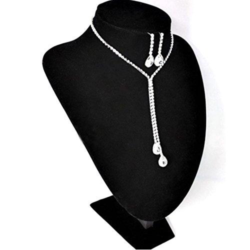 Lucoo Fashion Prom Wedding Bridal Jewelry Crystal Rhinestone Necklace Earring Sets (A)