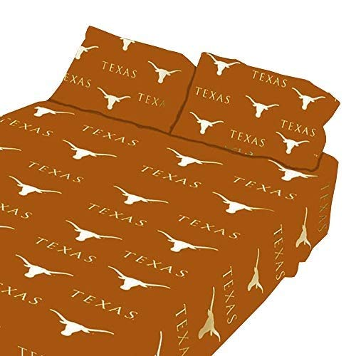 College Covers Texas Longhorns Printed Sheet Set - King - Solid