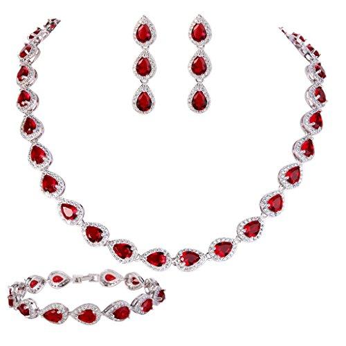 - EVER FAITH CZ January Birthstone Elegant Tear Drop Necklace Earrings Bracelet Set Red Ruby-color