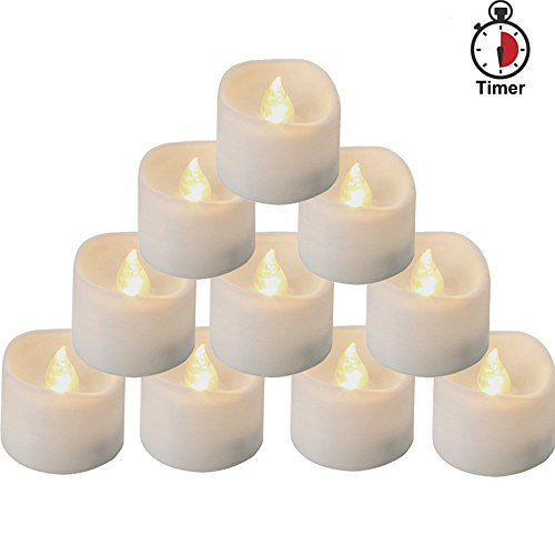 Homemory Battery Tea Lights With Timer, 6 Hours on and 18 Hours Off in 24 Hours Cycle Automatically, Pack of 12 Timing LED Candle Lights in Warm (Today Now Halloween)