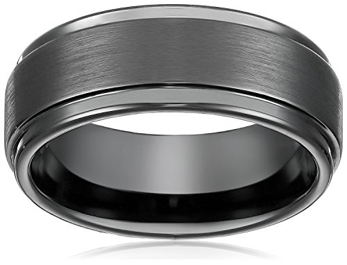 8mm Black High Polish / Matte Finish Men's Tungsten Ring Wedding Band Sizes 6 to 15 (14)