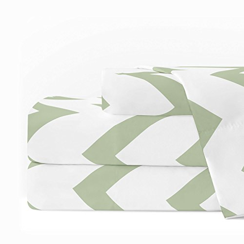 Egyptian Luxury 1600 Series Hotel Collection Chevron Pattern Bed Sheet Set - Deep Pockets, Wrinkle and Fade Resistant, Hypoallergenic Sheet and Pillowcase Set - Queen - Sage/White
