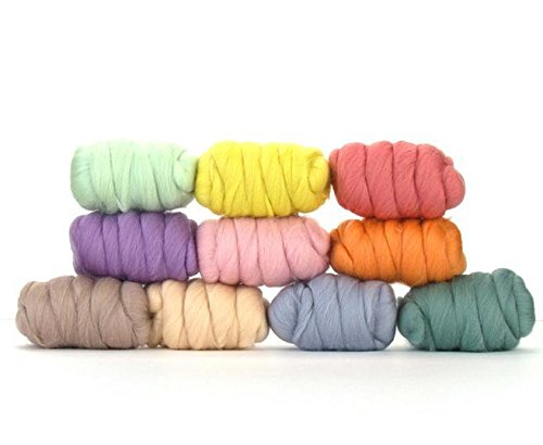 Paradise Fibers Mixed Merino Wool Bag - Pretty Pastels - Merino Wool Fiber Lot Perfect for Needle Felting, Wet Felting, Hand Spinning, and Blending ()