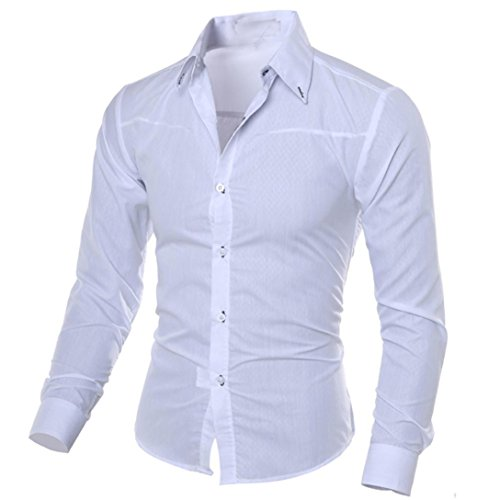 Mens Shirts Clearance Sale vermers Men Fashion Printed Blouse Casual Long Sleeve Slim Shirts Tops(M, White)