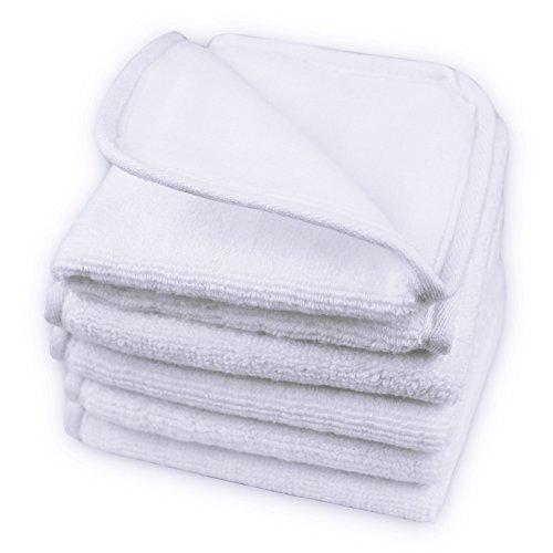 100 Cloths - 100% Pure Cotton Facial Towels Makeup Remover Wash Cloths Double Soft Cleanser-3 Pack (White)