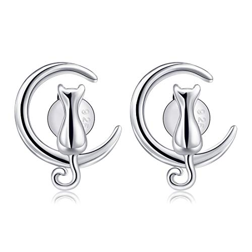 CAT EYE JEWELS Cat on Moon Stud Earrings Sterling Silver Crescent Moon Cat Earrings Gift for Cat Lovers E001 ()