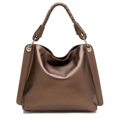 Tosca Classic Textured Shoulder Handbag,One Size,Metallic Brown