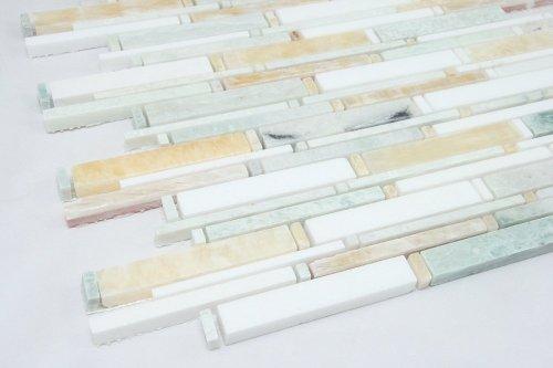 Ming Green , Thassos White, Honey Onyx; Marble mosaic tile; green white and yellow marble (Green Onyx Mosaic)