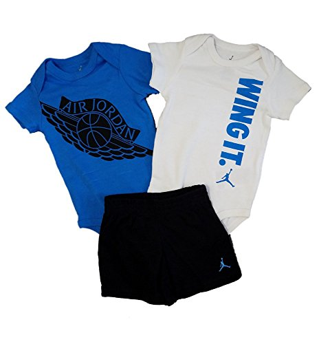 Michael Jordan Jumpman Baby Boys 3pc Bodysuits and Shorts Set (Blue, 9-12 Months) by Michael Jordan