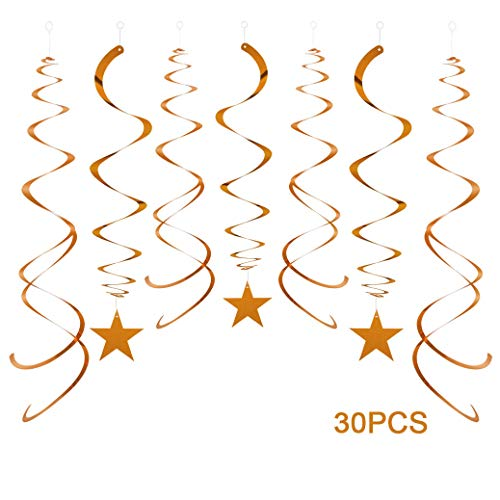 AimtoHome Party Star Swirl Decorations, Orange Foil Ceiling Hanging Swirl Decorations with Star, Whirls Decorations for Birthday | Wedding | Anniversary | Graduation Party Supplies, Pack of 30