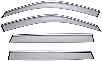 WellVisors Sleek HD Side Window Visor Smoke Chrome Trim