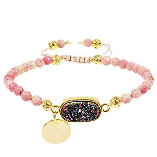 (TUMBEELLUWA Beads Bracelets Faceted Stone 4mm Healing Crystal Bracelet Oblong Shape Druzy Adjustable Handmade Jewelry for Women,Rhodonite)
