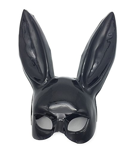 (Mardi Gras Party Masquerade Mask,Nightclub bar KTV Makeup Dance Rabbit Long Ear mask Bunny mask Easter Bunny mask Black Prom)