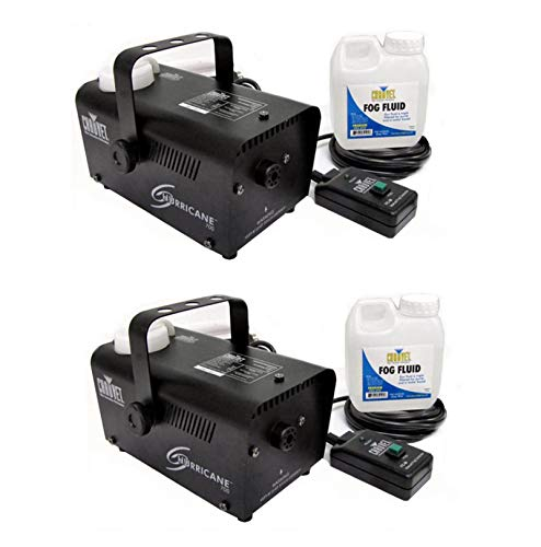 Chauvet DJ Halloween Fog Smoke Machines with Fog Fluid and Wired Remote (2 Pack) ()