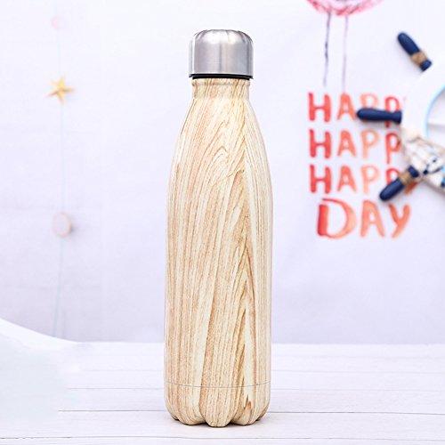 Stainless Steel Sport Insulated Water Bottle Wood Grain Unicorn Letter Bowling Shaped Drinkware Coke Bottle 500ML,17oz(Wood Grain) by WJYX (Image #2)