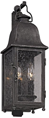 Troy Lighting Larchmont 2-Light Outdoor Wall Lantern - Aged Pewter Finish with Clear Seeded ()
