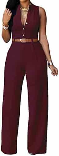 e11d8974a9f roswear Women s Sexy Plunge V Neck Belted Wide Leg Jumpsuits Dress