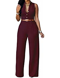 Women's Sexy Plunge V Neck Belted Wide Leg Jumpsuits Dress