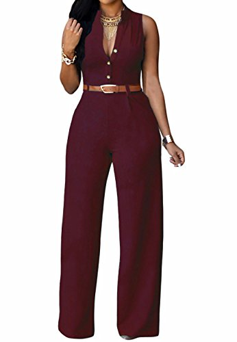 roswear Women's Sexy Plunge V Neck Belted Wide Leg Jumpsuits Dress Burgundy Large