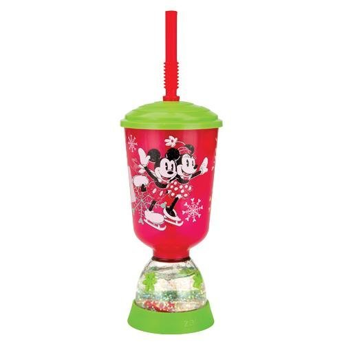 (Zak Designs Mickey and Minnie Mouse Peace & Joy Holiday 9 oz Fun Floats Snowglobe Tumbler)