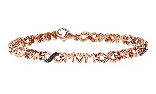 Jewel Zone US Black & White Natural Diamond Mom Infinity Bracelet 14K Rose Gold Over Sterling Silver (0.07 Cttw)