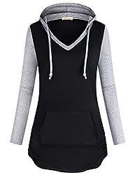 Baikea Hoodies Teen Girls Laides V Neck Long Sleeve Curve Hem Sweatshirts Pocket Tie Detail Knitted Lightweight Slim Fit Leisure Wear Pullover Tops Black M