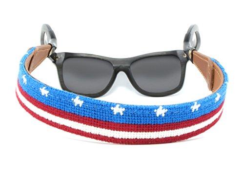 Needlepoint Sunglass Strap Sunglass Retainer by Huck Venture (USA Flag Banner) by Huck Venture (Image #1)