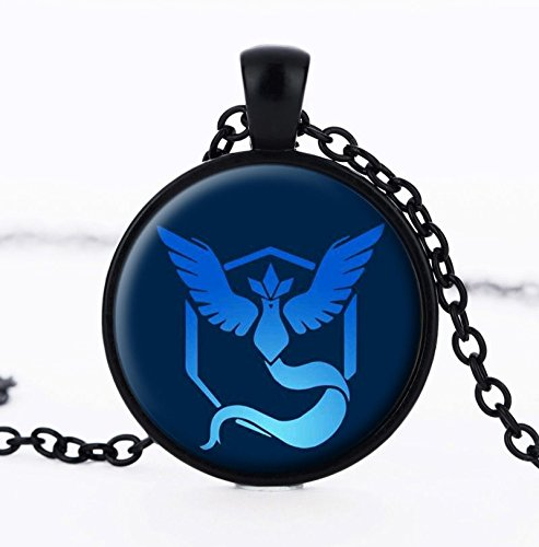 JewelryX - Black Team Mistic Pokemon Go Ball Pokeball Cabochon Glass Charm Pendant Chain Necklace Women