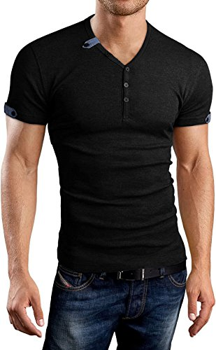 (Aiyino Men's Summer Casual V-Neck Button Cuffs Cardigan Short Sleeve T-Shirts M Black )