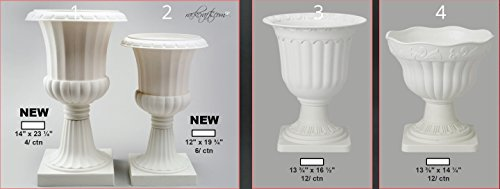 (rackcrafts.com Hard White Plastic Roman Greek Planters Vase Bowl Column Statue Garden Wedding Home Decor Bulk)