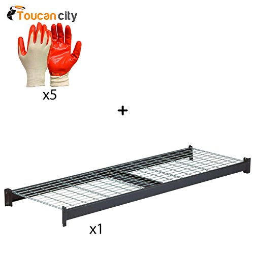Toucan City Nitrile Dip Gloves(5-Pack) and Husky Welded Steel Rack and Wire Shelf Add-On Kit (Husky Wire)