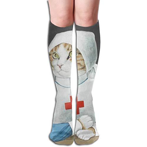 Novelty Colorful Florence Nightingale Cat Nurse Socks Crew Socks For Unisex