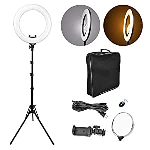lonabest Ring Light Kit, 18 inches Camera Outer Photo Video 432 LED Dimmable SMD Light Stand Including Stand, Bluetooth Receiver, 6 inches Mirror —YouTube Video, Portraiture, Makeup, Interview