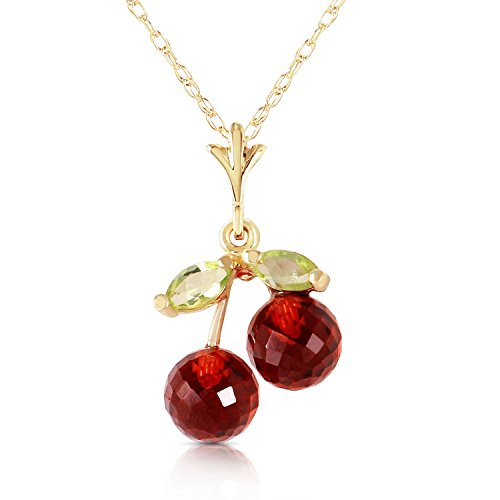 ALARRI 1.45 Carat 14K Solid Gold Cherry Pie Garnet Peridot Necklace with 18 Inch Chain Length