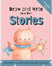 """Primary Composition Notebook - Draw and Write Your Own Stories, Grades K-2: Bound Paperback / Ages 4-7 / 8.5 x 11"""" / 104 Pages / Picture and Story Space / Ruled Grey Lines 1/4 Inches Apart / Heavier Baselines and Dotted Midlines with 1/4 Inch Skip Space"""