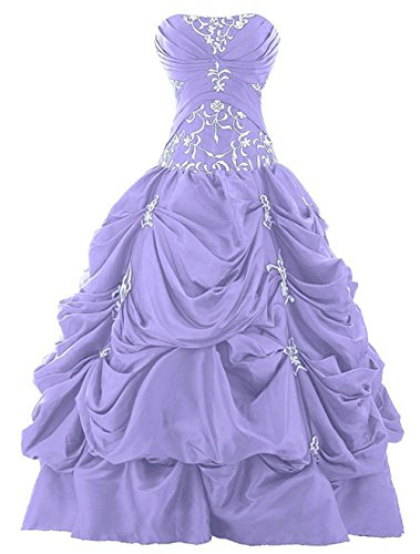 - Zorayi Women's Strapless Embroidery Prom Ball Gown Pick-up Quinceanera Dress Lavender 12