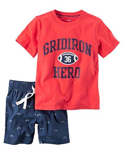 Carter's Boys' Newborn-5T 2 Piece Short Sleeve Sunglass Pocket Polo and French Terry Shorts Set (5T, Red/Football) (Newborn Boy Carters Football)