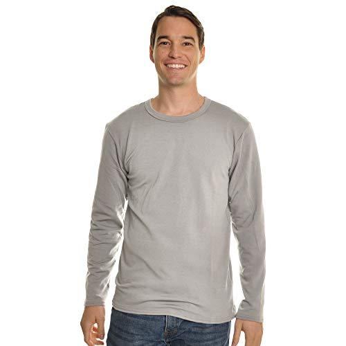 Swan Men's Fleece-Line, Crew Neck, Long Sleeves Thermal Top, 8915LightGray_M