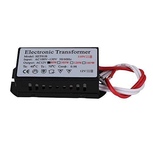 Homswitch Black Plastic AC 110V Input 12V Output Halogen Lamp Electronic Transformer 80W ()