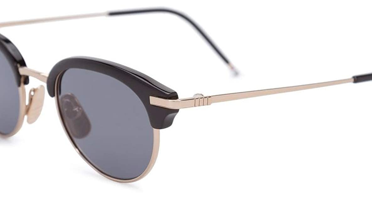 049f664482b3 THOM BROWNE TB 706 A-T-BLK-GLD Black-Shiny 12K Gold-w Dark GreyAR Sunglasses