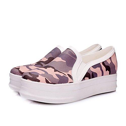 VogueZone009 Damen Mittler Absatz Ziehen auf Weiches Material Rund Zehe Pumps Schuhe Pink