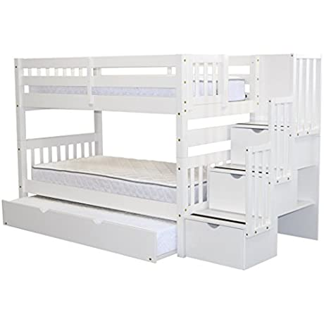 Bedz King Stairway Bunk Bed Twin Over Twin With 3 Drawers In The Steps And A Twin Trundle White