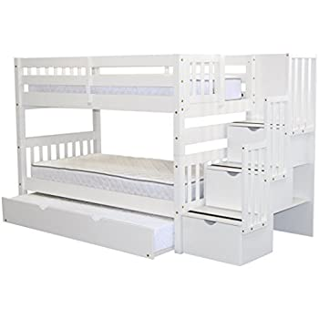Amazoncom Twin Over Full Stair Stepper Bed with Trundle in White