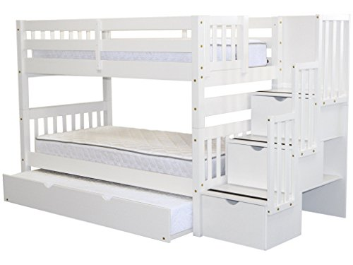 Bedz King Stairway Bunk Beds Twin over Twin with 3 Drawers in the Steps and a Twin Trundle, White (Twin Step Bunk)